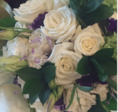 Bridal bouquet of white roses with lavender accents Olde Square Inn Mount Joy PA